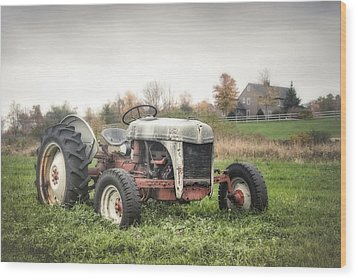 Old Ford Tractor And Farm House Wood Print by Gary Heller