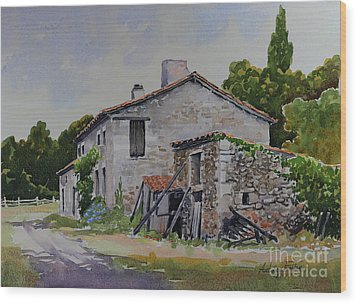 Old French Farmhouse Wood Print by Anthony Forster