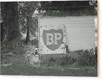 Old Gas Station Sign Wood Print by Carolyn Ricks