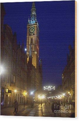 Old Gdansk November Nights Wood Print