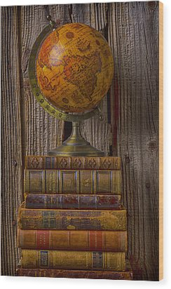 Old Globe On Old Books Wood Print by Garry Gay