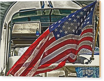 Old Glory And The Bay Wood Print by Tom Gari Gallery-Three-Photography