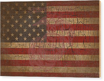Wood Print featuring the digital art Old Glory And The Marine Corps by Dawn Romine