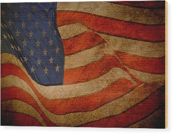 Wood Print featuring the digital art Old Glory Combat Flag by Davina Washington
