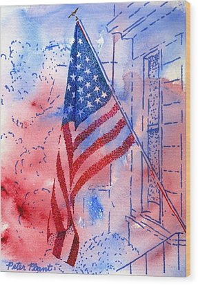 Old Glory In The Neighborhood Wood Print by Peter Plant