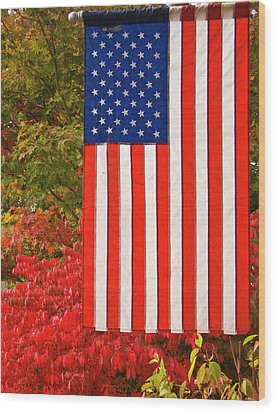 Old Glory Wood Print by Ron Roberts