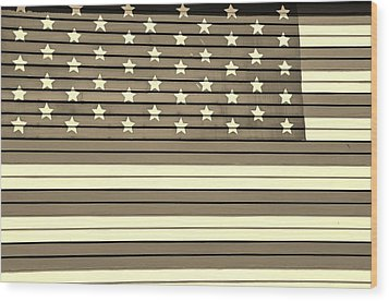 Old Glory  Sepia Wood Print by Elizabeth Sullivan