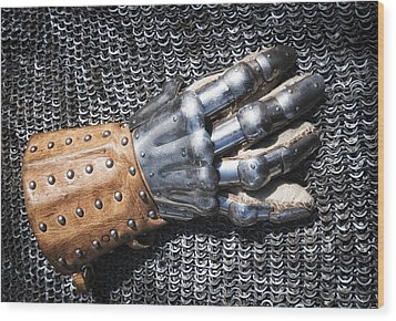 Old Glove Of A Medieval Knight Wood Print by Matthias Hauser