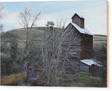 Old Grain Barn Wood Print by Steve McKinzie