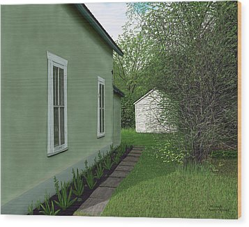 Old Green House Wood Print by Michelle Moroz-Chymy