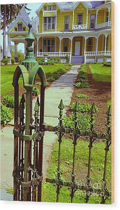 Wood Print featuring the photograph Old Green Wrought Iron Gate by Becky Lupe