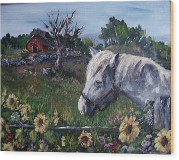 Wood Print featuring the painting Old Grey Mare by Megan Walsh
