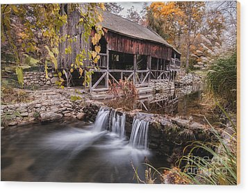 Old Grist Mill - Macedonia Connecticut  Wood Print by Thomas Schoeller