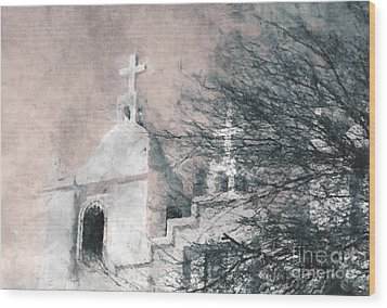 Wood Print featuring the painting Old Guadalupe Church by Julie Lueders