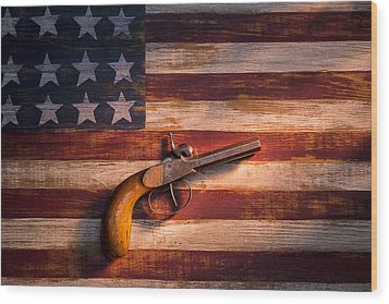 Old Gun On Folk Art Flag Wood Print by Garry Gay