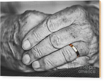 Old Hands With Wedding Band Wood Print by Elena Elisseeva