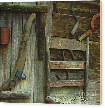 Old Hanging Ladderback Wood Print by Julie Dant