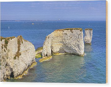 Old Harry Rocks - Purbeck Wood Print by Joana Kruse