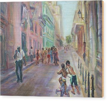 Old Havana Street Life - Sale - Large Scenic Cityscape Painting Wood Print by Quin Sweetman