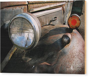 Old Headlights Wood Print by Colleen Kammerer