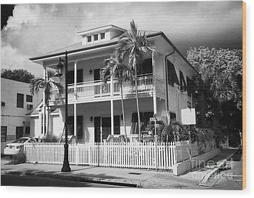 Old Historic Wooden Two Storey Building With White Picket Fence Key West Florida Usa Wood Print by Joe Fox