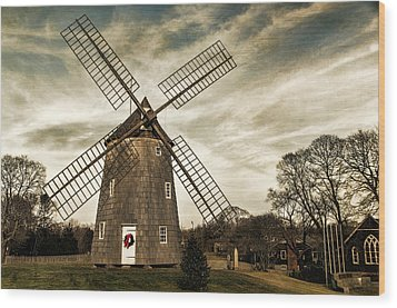Old Hook Windmill Wood Print