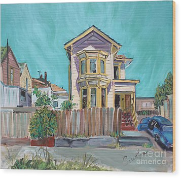Old House In East Oakland Wood Print by Asha Carolyn Young