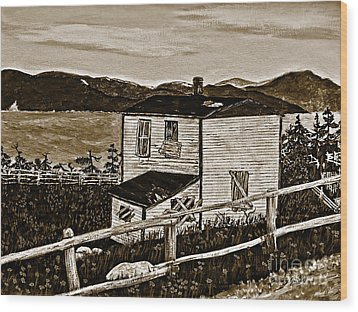 Old House In Sepia Wood Print