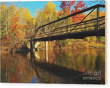 Wood Print featuring the photograph Historic Harvey Bridge Over Manistee River In Wexford County Michigan by Terri Gostola