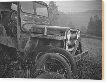 Old Jeep Wood Print by Jerry Mann