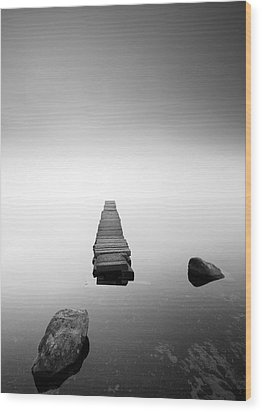Old Jetty In The Mist Wood Print by Grant Glendinning