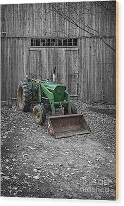 Old John Deere Tractor Wood Print by Edward Fielding