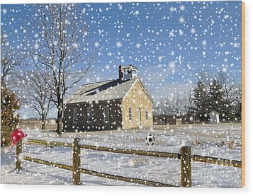 Wood Print featuring the photograph Old Kansas Schoolhouse by Liane Wright