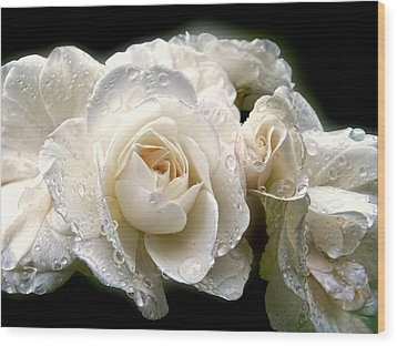 Old Lace Rose Bouquet Wood Print by Jennie Marie Schell