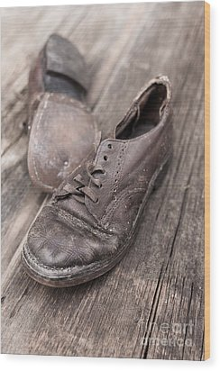 Old Leather Shoes On Wooden Floor Wood Print by Edward Fielding