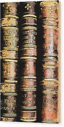 Old Ledgers Wood Print by Lovina Wright