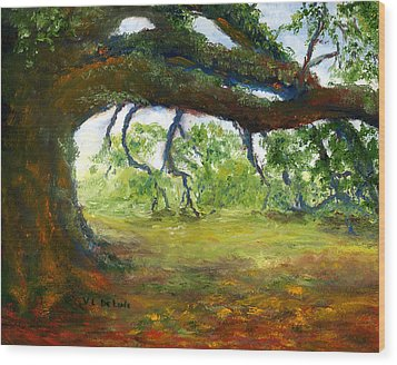 Wood Print featuring the painting Old Louisiana Plantation Oak Tree by Lenora  De Lude