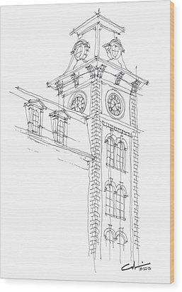 Wood Print featuring the drawing Old Main Study by Calvin Durham