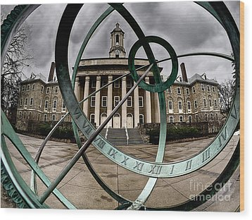 Old Main Through The Armillary Sphere Wood Print
