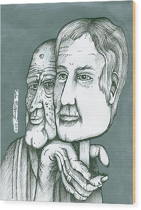 Wood Print featuring the painting Old Man Behind A Young Mans Face by Richie Montgomery