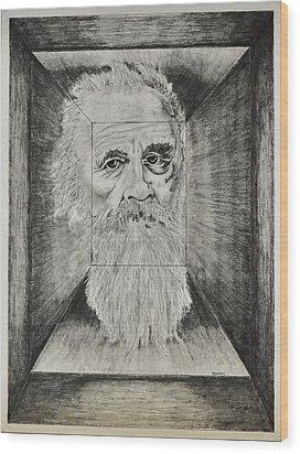 Old Man Head In Box Wood Print by Glenn Calloway