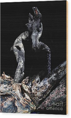 Old Man Walking Wood Print by Petros Yiannakas