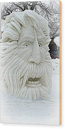Old Man Winter Snow Sculpture Wood Print