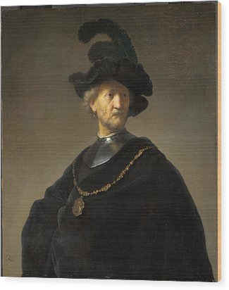 Old Man With A Gold Chain Wood Print by Rembrandt van Rijn