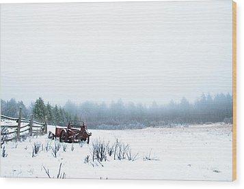 Old Manure Spreader Wood Print by Cheryl Baxter