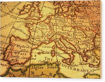 Old Map Of Europe And Mediterranean Wood Print by Colin and Linda McKie