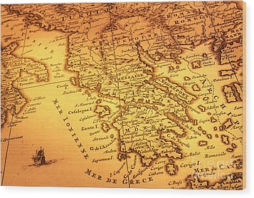 Old Map Of Greece Wood Print by Colin and Linda McKie