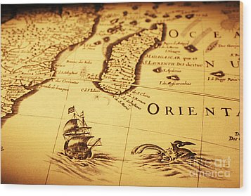 Old Map Sea Monster Sailing Ship Africa Madagascar Wood Print by Colin and Linda McKie