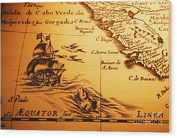 Old Map Sea Monster Sailing Ship Equator Africa Wood Print by Colin and Linda McKie