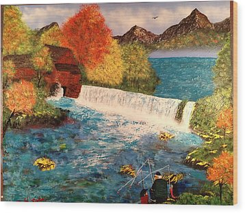Wood Print featuring the painting Old Michigan Mill by Michael Rucker